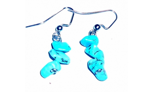 Turquoise  And Sterling  Earrings Hand Made 1344E