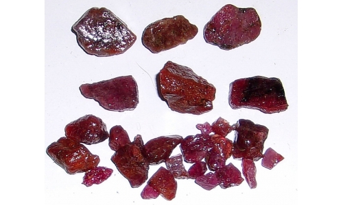 Ox Blood Ruby Rough North Carolina 60 cts 5 to 15 MM 1386F
