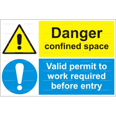 15.046 IMPA 33.3117 Danger confined space - Valid permit to work 200x300mm