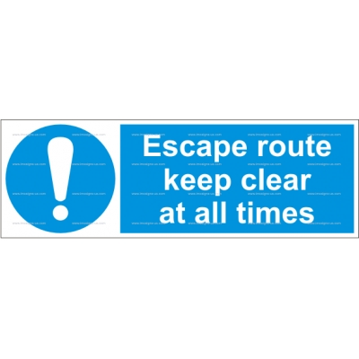 4.013.13 IMPA 33.5831 Escape route, keep clear at all times 100x300mm