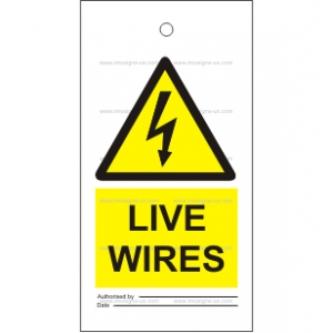 7.007 IMPA 33.2542 Tie tag, Live wires 150x75mm