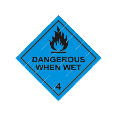 8.013 IMPA 3.2212 Class 4, Dangerous when wet 250x250mm