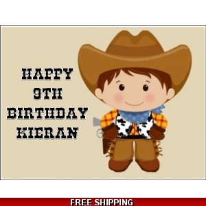 Cute Cowboy Western Edible Cake Topper