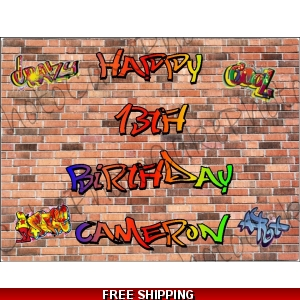 Graffiti Wall Edible Cake Topper
