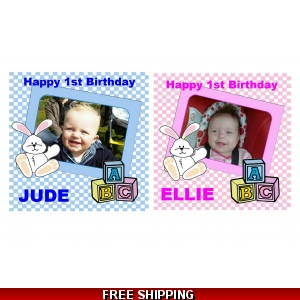 Your Baby Photo Blue or Pink Edible Cake Topper