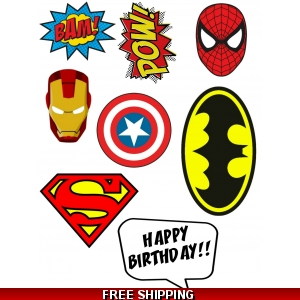 Superhero Logo Decals Edible Cake Topper A4