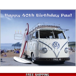 VW Volkswagon Surfer Campervan Edible Cake Topper