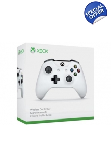 Wireless Microsoft Xbox One S Bluetooth Controller White 3.5mm Headset Jack