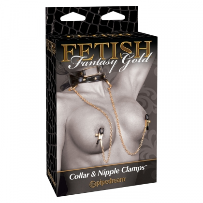 Fetish Fantasy Gold Collar and Nipple Clamps
