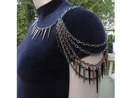 Mixed Metal Spiked Shoulder Chain Necklace