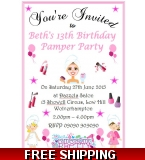 12 x Girl's Pamper Party Invitations