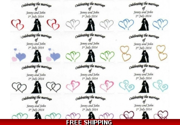 63 x Personalised Wedding/Engagement/Anniversary Favour/Cake box Sticky Labels