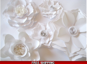 White Paper Flowers Big Paper Flowers Nursery Flowers Flower Wall Decor Wall Paper Flowers Paper Wedding Backdrop Table Centerpiece
