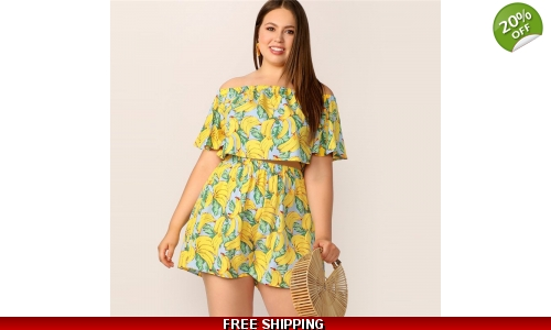 f23b7ecef2e9f SHEIN Plus Size Yellow Off Shoulder Banana Print Two-piece Sets
