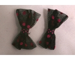 Black and Pink Polka Dot Bow Hairclips