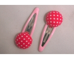 Pink Polka Dot Buttons on Pink Hair Slides