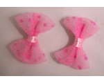 Pink Polka Dot Netted Hair Bows