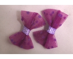 Purple Polka Dot Netted Hair Bows