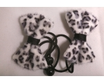 White Leopard fur Hair Bows