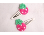 Crocheted Strawberry Hair Slides