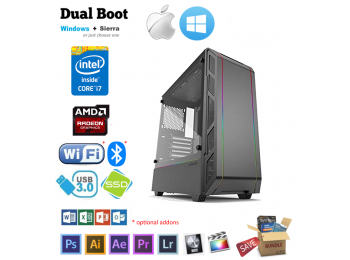 Phanteks Intel i7-6700 16GB Radeon RX, SSD, Mac Pro, Win Hackintosh