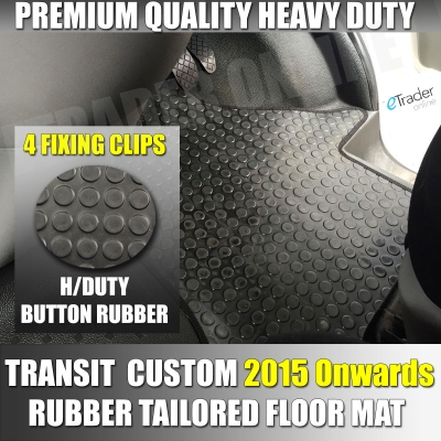 Ford Transit Custom Rubber Floor Mat One Piece 2015 4 CLIP