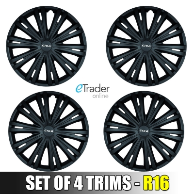 "16"" Black Wheel Trims Hub Cap Set of 4 Trims 