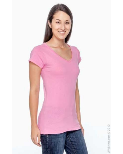 Ladies V-Neck T Shirts Gildan Soft Style Fitted