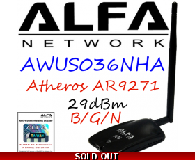 AWUS036NHA Alfa Network B/G/N Wireless USB Adapter Atheros AR9271
