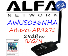 CLEARANCE ITEM AWUS036NHA Alfa Network B/G/N Wireless USB Adapter Atheros AR9271