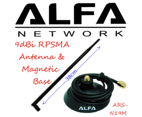 Alfa Network ARS-N19M 9 dBi RPSMA Antenna & Magnetic Base, 2.4 Ghz