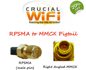 MMCX Right Angle Plug to RPSMA pigtail cable