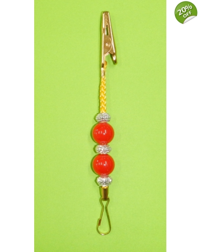 Decoration clip - coloured cord with beads - single unit, 115mm