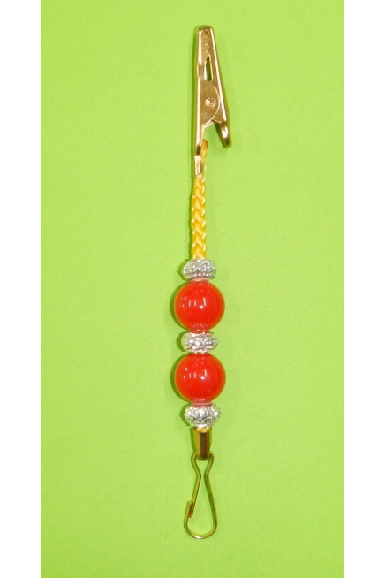Xmas Decoration clip - coloured cord with beads - single unit, 115mm