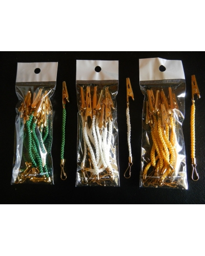 Xmas Decoration clips - Green, Gold or White - 1 pack=10 units, 115mm