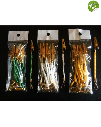 Decoration clips - Green, Gold or White - 1 pack=10 units, 115mm