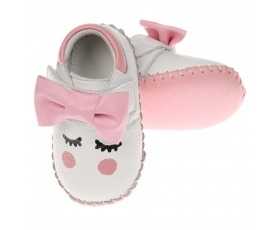 Blush- Bowed - baby shoes