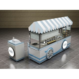 Double Pan Ice Cream Rolls Cart Ice Blue