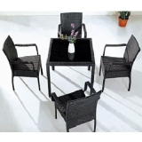 Set Rattan 1 Table 4 Chairs