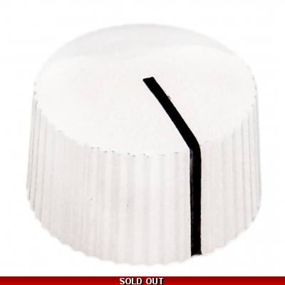 20mm Low Profile Knurled Plastic Knob - White