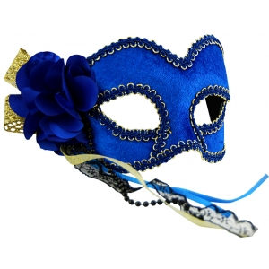 Blue and Gold Mask with Flower