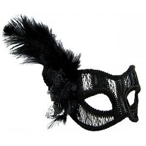 Black Lace Mask with Feathers