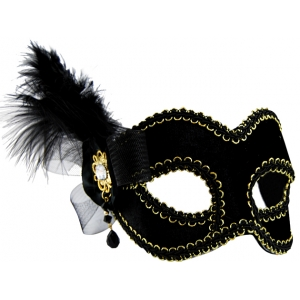 Black Mask with Side Feather