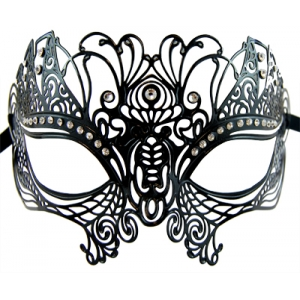 Black Peacock Metal Masquerade Mask