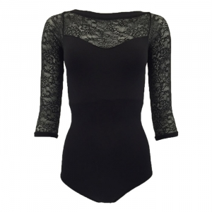 Lace 3/4 Sleeve Leotard
