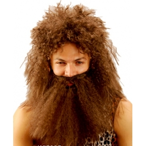 Jungle Man Wig and Beard Set - Brown