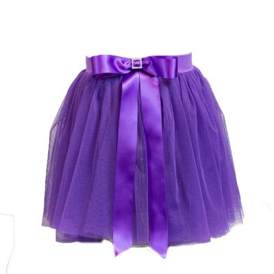 Mesh skirt with Satin bow and diamante detail. title=