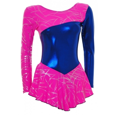 Skater Dress Long Sleeves Pink/Royal Blue S094b title=