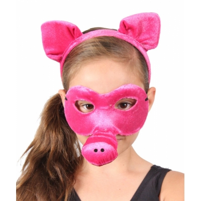 Pig Animal Mask and Headband title=