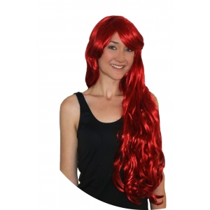Deluxe Mermaid Wig- Long Red with Fringe